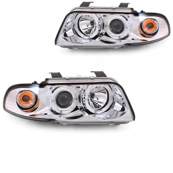 Audi-A4-B5-LimAvant-96-00-Faróis-Angel-Eyes-Cromados