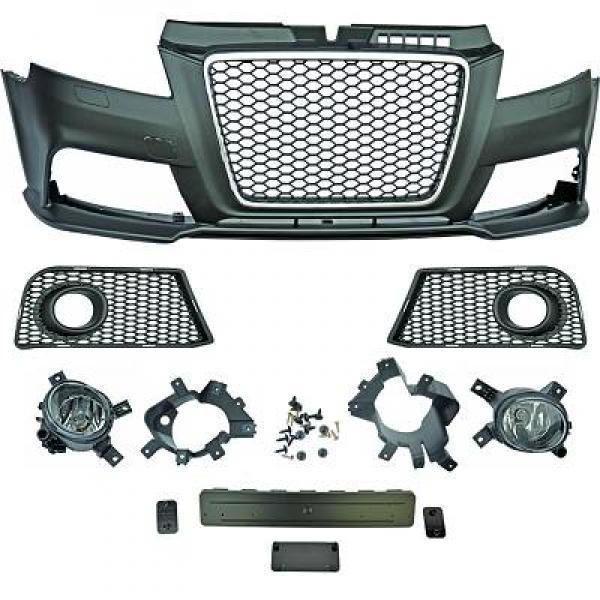 Audi-A3-8P3-08-12-Para-choques-RS3-Grelha-Favo-de-Mel-Cromada