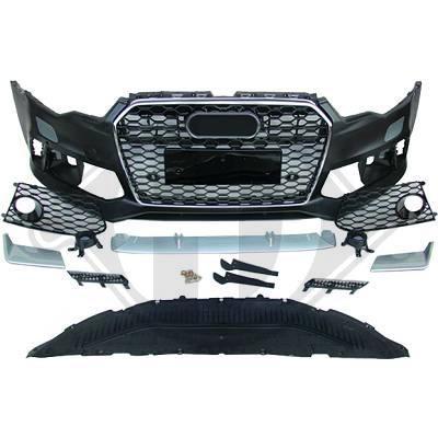Audi-A6-11-14-Para-choques-Frente-RS6-Grelha-Favo-de-Mel-Cromada