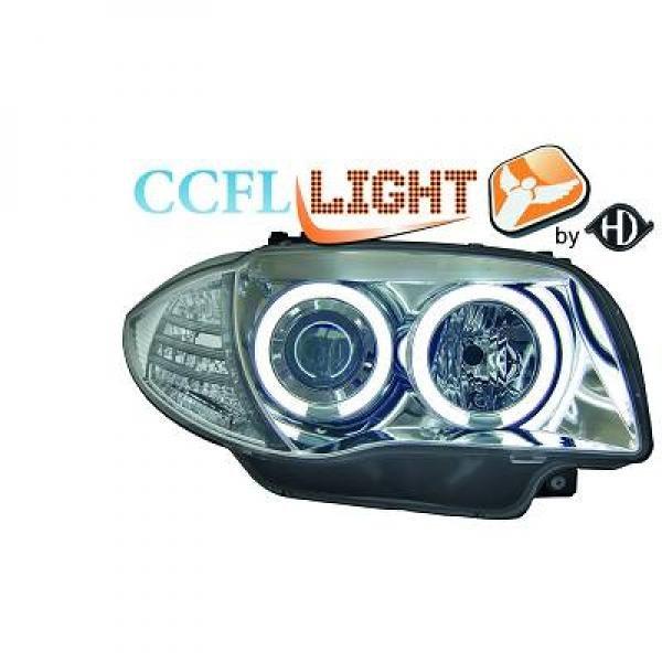 BMW-Serie-1-E81-E87-E82-E88-04-11-Faróis-Angel-Eyes-CCFL-Cromados