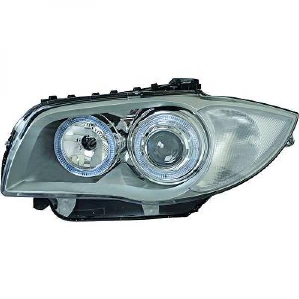 BMW-Serie-1-E81-E87-E82-E88-04-11-Faróis-Angel-Eyes-tipo-Origem-Cinza