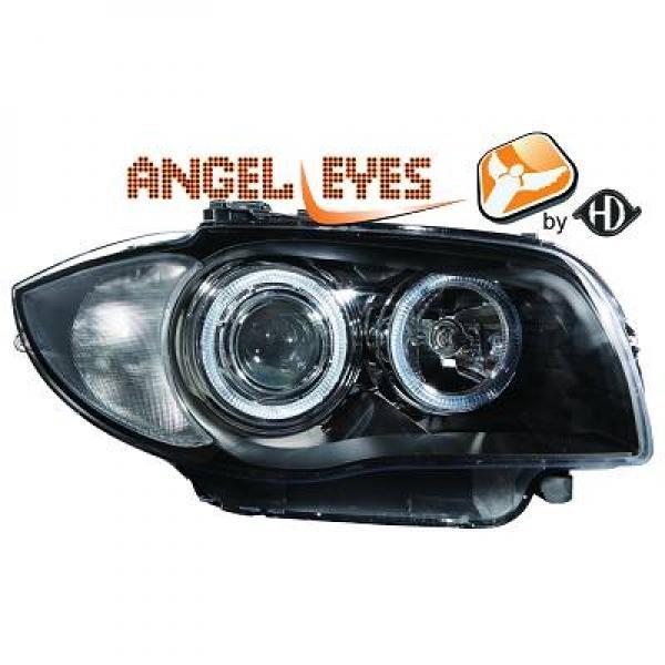 BMW-Serie-1-E81-E87-E82-E88-04-11-Faróis-Angel-Eyes-tipo-Origem-Pretos