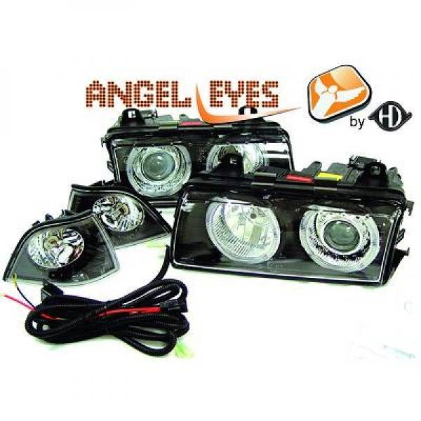 BMW-Serie-3-E36-90-99-–-Faróis-Angel-Eyes-Pretos-4-Portas-Touring-Compact