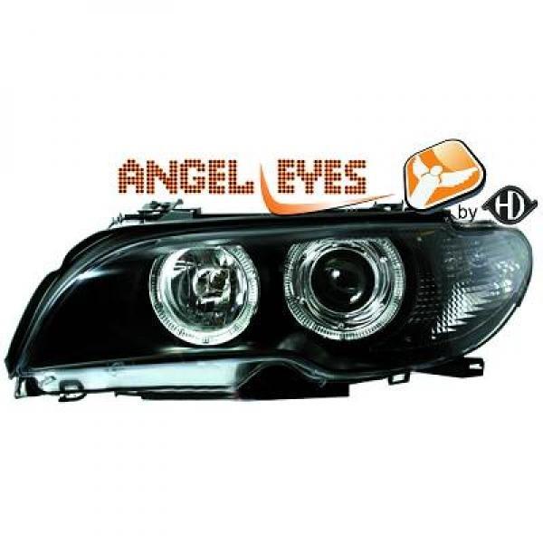 BMW-Serie-3-E46-Cabrio-03-07-Faróis-Angel-Eyes-tipo-Origem-Preto