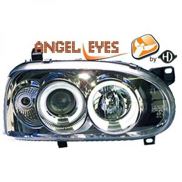 Volkswagen-Golf-III-91-97-Faróis-Angel-Eyes-Cromados