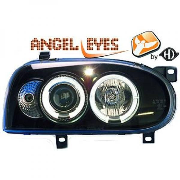 Volkswagen-Golf-III-91-97-Faróis-Angel-Eyes-Preto