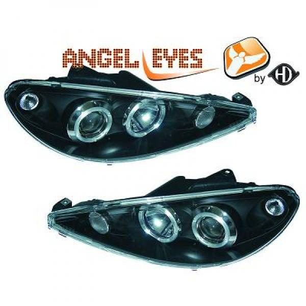 Peugeot-206-98-08-Faróis-Angel-Eyes-Pretos